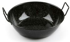 Deep Flat Bottom Enamel Paella Pan / Wok 2 Handles. Induction & Oven Safe 30cm