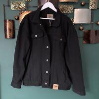 Men's Duke Jeans Size 3xl XXXL Black Distressed Ruff Button Up Demin Jacket