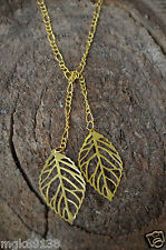 """18k Gold Twin Leaf Jewelry GOLD LARIAT TIE NECKLACE 36"""""""