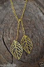 """18k Gold Leaf Lariat Drop Long Tie Necklace 36"""" Leaves  Boho"""