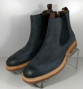 272229 MSBT50 Men's Shoes Size 8 M Navy Leather Slip On Boots Johnston & Murphy
