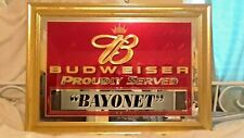 """Budweiser Beer Sign Mirror Proudly Served """"Bayonet"""""""