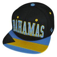 Zephyr Bahamas Island Adjustable Black Snapback Villain Star World Flag Hat Cap
