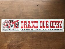 Vtg Grand Ole Opry Nashville Tennessee South Country Music City Bumper Sticker