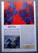 Document ARTIN Peintre abstrait Urrugne    , clipping , photos