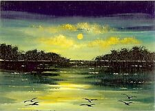 ACEO GLOSSY PRINT Sunset Clouds Lakeside Birds Islands Ocean Art Print HYMES
