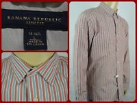 Banana Republic Salmon Gray Striped L/S Btn Front Dress Shirt Mens Lg SLIM FIT