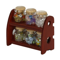 4p Glass Storage Jar Wooden Lid Dolls House Miniature Kitchen Accessory 1:12