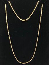 """Ouro Amarelo 14k Diamante Corte sólida Colar de Corrente de corda 20"""" 1.6mm 4g"""