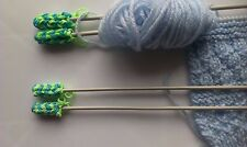hand crafted~ universal Knitting Needle Point Protectors And Stoppers | 2 Pairs
