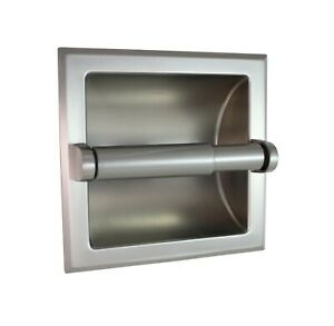 Heavy Duty Wall Mounted Recessed Toilet Paper Holder - Brushed Nickel