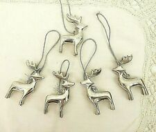 POTTERY BARN Vintage Silverplate REINDEER Christmas Tree Ornaments Set of 5