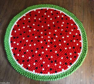 Choose Size 90 cm- 200 cm Round Watermelon Pom Felt Balls Nursery Rug