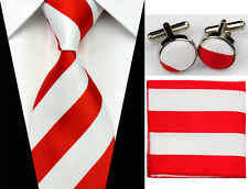 Men's Tie, Cufflinks, Hankerchief Set In Different Stripe Styles