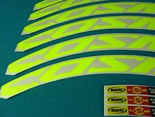 "MAVIC COSMIC CARBONE SL OR SLR FLUORESCENT YELLOW ""LAMPRE GREEN"" RIM DECAL SET"