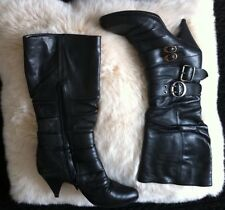 Bronx Black Long Boots High Heels / Size 5 UK 38 EUR Stockup For Winter!