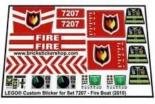 Replica Pre-Cut Sticker for Lego® City Fire set 7207 - Fire Boat (2010)