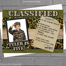 Personalised Army Soldier Military Photo Birthday Party Invitations x 12 H1145