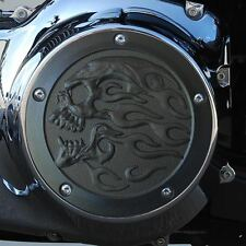 Flaming skull derby cover textured black Harley Twin Cam models DCFSB-1