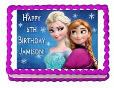 FROZEN ANNA AND ELSA edible party cake topper decoration frosting sheet image