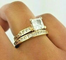 2 CT 14K Yellow Gold Princess Cut Diamond Engagement Ring With Wedding Band Set