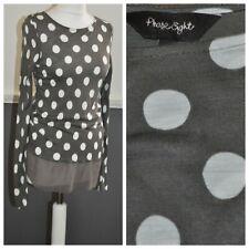 PHASE EIGHT Ladies Polka Dots Top Blouse UK 8 Taupe Viscose Sheer Hem