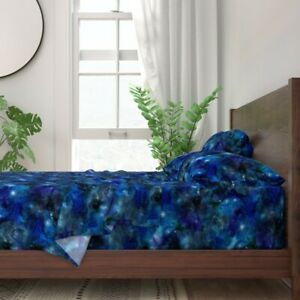 Blue Black Space Galaxy Night Stars 100% Cotton Sateen Sheet Set by Roostery
