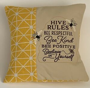 """Two Tone Hive Rules Bee Embroidered Cushion Cover  12""""x12"""""""