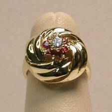 Diamond and Ruby Vintage Estate Knot Ring Set in 14K Yellow Gold - Genuine Gems