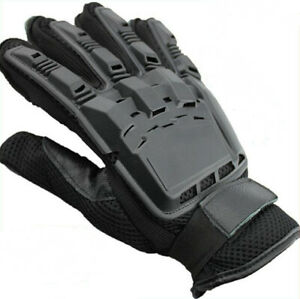 Black Full Finger Armored Paintball Airsoft Mens Vented Leather Combat Gloves
