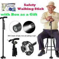 LED Flashlight Anti-skid Safety Walking Stick Folding Walking Cane W/ Gift Box