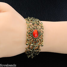Women Retro Bronze Red Rhinestone Flower Bangle Lady Braclet Chain Jewelry