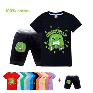 Jelly Green Summer T-Shirt Tee Top+Shorts Pants Costume Kids Unisex Youtube Set