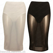 Ladies Womens Sheer Mesh See Through Stretchy Waistband Bodycon Pencil Skirt