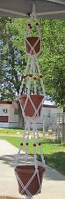 MACRAME PLANT HANGER 72in 3 Tier DELUXE  6mm - White Cord with Red Beads