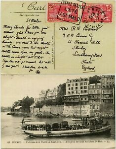 FRANCE 1924 OLYMPIC 25c x 2 FRANKING on PPC DINARD SCOUT BOAT ST MALO SLOGAN PMK