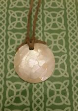 Primitive Simplistic Necklace w/ Leather Abalone or Mother of Pearl Looking