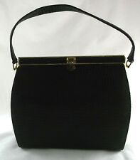 1950s Vintage Chocolate Brown Alligator Embossed Leather Kelly Style Bag Purse