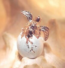 2-TONE ROSE GOLD PLATED 925 SILVER HAWAIIAN BABY TURTLE EGG HATCHLING PENDANT #1