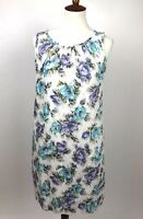 Land's End Womens Size 8 Floral Shift Dress Cotton Pockets Sleeveless Scoop Neck
