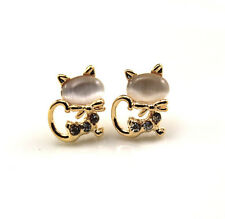 NEW fashion Europe Style plating 14K white opals cat Stud earrings EA295