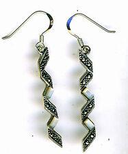 925 Sterling Silver Mother of Pearl & Marcasite Zig Zag Long Drop Earrings  50mm