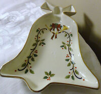 """MIKASA FINE CHINA  FK001 """"HOLIDAY ELEGANCE"""" BELL SHAPED CANDY DISH WITH GOLD RIM"""