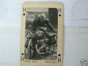 PLAYING CARD DRIKUS VEER JAWA TWIN MOTO GP RACER AROUND 1940 DUTCH TT ASSEN ?A