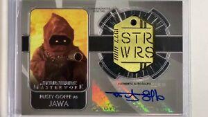 2020 Masterworks Rusty Goffe as Jawa Autographed Dog Tag 77 Medallion 12/99 Auto