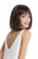 Wig Women's Short Shoulder Length Bob Long Fringe Smooth Mahogany Braun Mix