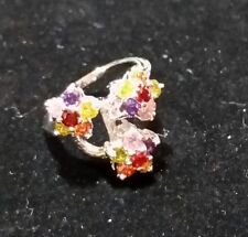 Size 6 silver ring garnet morganite citrine Mother's day FREE SHIPPING REDUCED