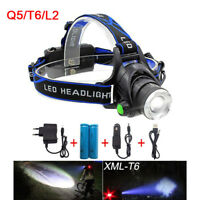 Rechargeable Q5 T6 L2 Zoom Led Headlamp Head Lamp Torches flashlight 18650 light