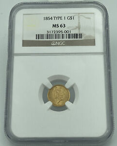 1854 Type 1 NGC MS63 Gold Dollar $1