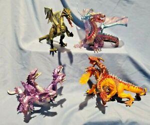 4 Plastoy Medieval DRAGON Figurines by Safari Ltd Green Battlefield Hydra D&D